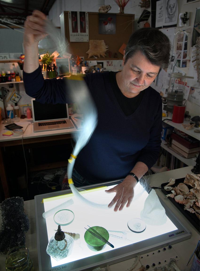 Jewellery artist Catherine Truman at work in her studio