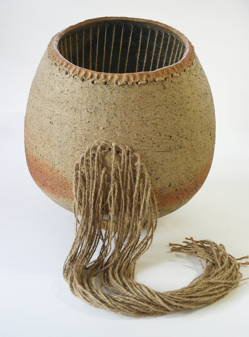 Judy Lorraine | Stringed Floor Pot 1 | 1970s | Stoneware and jute |  $3800