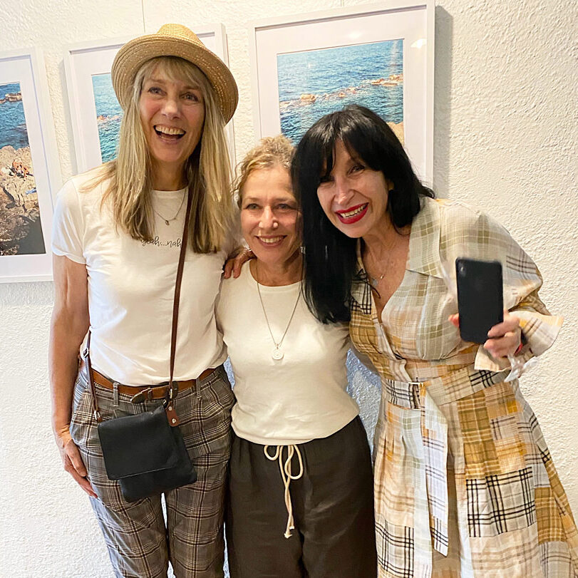 Three female artists at exhibition launch at WAS Gallery